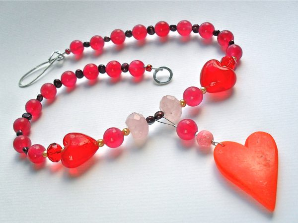 Red Love Heart Statement Necklace