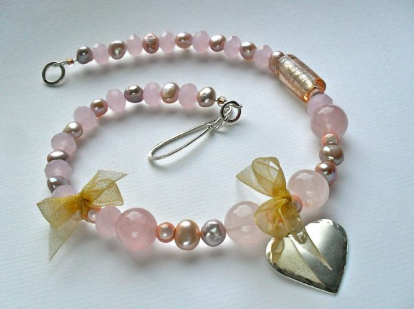 Rose Quartz and Gold Heart Necklace