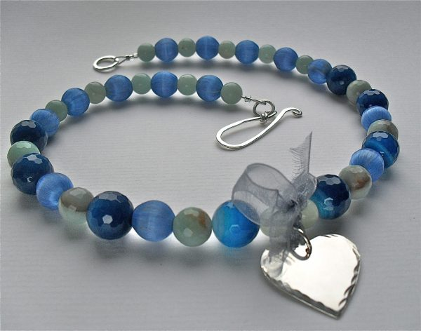 Blue Silver Heart Necklace