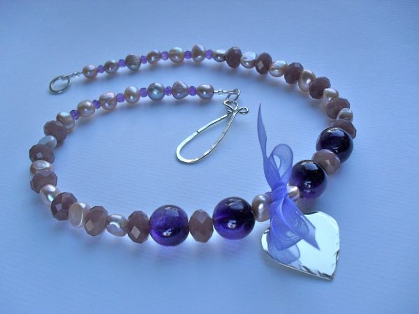 Purple Necklace with Silver Heart