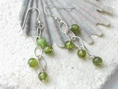 peridot waterfall earrings