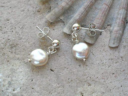 white pearl dangle stud earrings