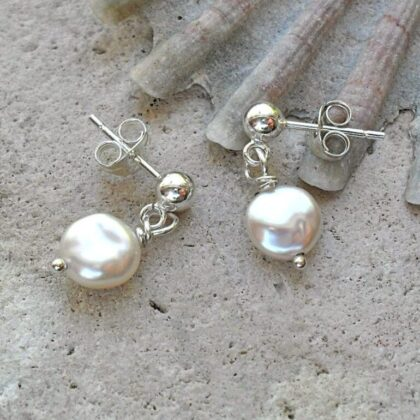 white pearl dangle stud earrings