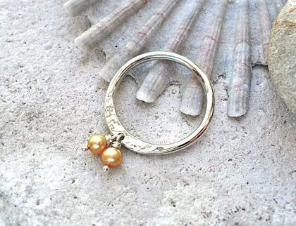 Silver Ring with Bronze Pearl Dangle Charms