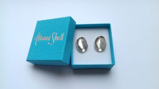 silver ormer studs earrings
