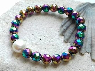 faceted electroplated hematite bracelet