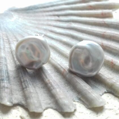 baroque grey freshwater pearl studs