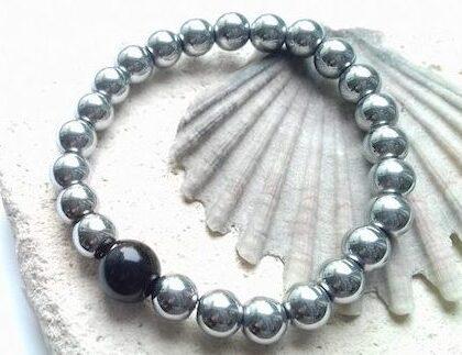 mens hematite elastic bracelet