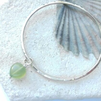 Silver Bangle with Jade