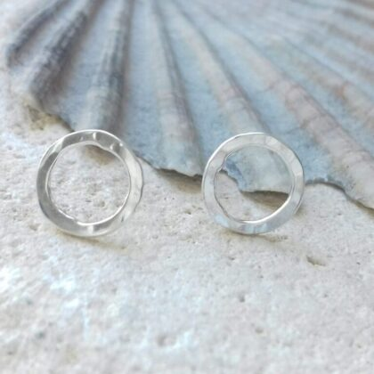 Tiny sterling silver circle studs