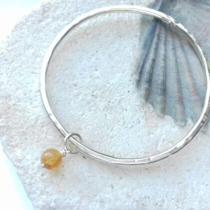 Silver Bangle with Citrine