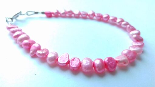 Bright Pink Freshwater Pearl Bracelet