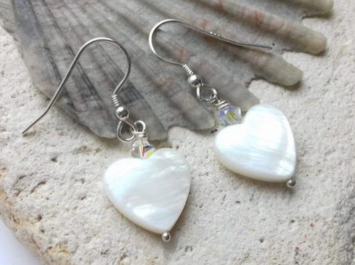 Mother of Pearl Hearts with Swarovski Crystal