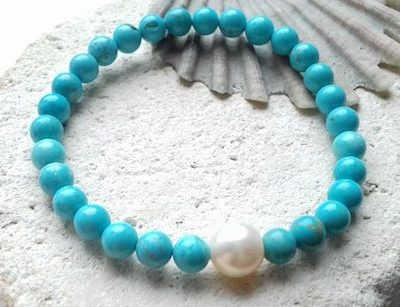 turquoise and pearl elastic bracelet