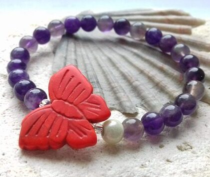 amethyst and red howlite butterfly elastic bracelet