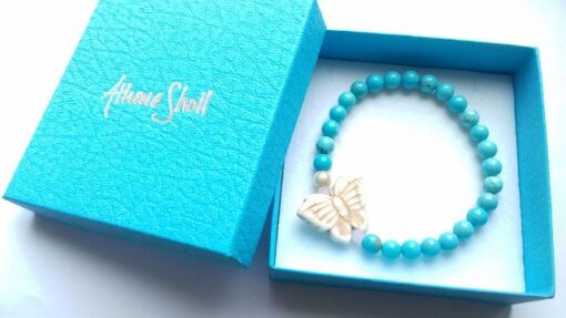 turquoise and howlite butterfly elastic bracelet