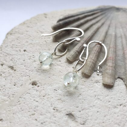 Aquamarine Gemstone Silver Navette Earrings
