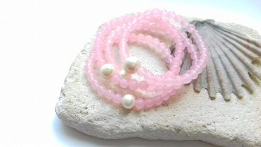 Rose Quartz Semi-Precious Bracelets Stacked