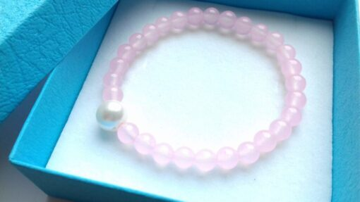 Rose Quartz Semi-Precious Bracelets close up in the gift box