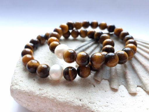 Tigers eye semi-precious elastic bracelets with pearl accent