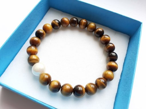 Tigers eye bracelet with pearl accent in our branded gift box