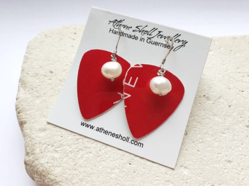 Red recycled plectrum dangly earrings with freshwater pearls.