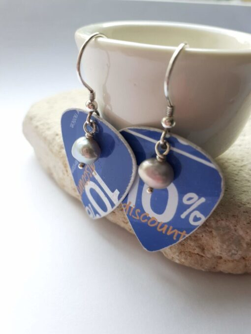 Blue recycled plectrum dangly earrings with freshwater pearls.
