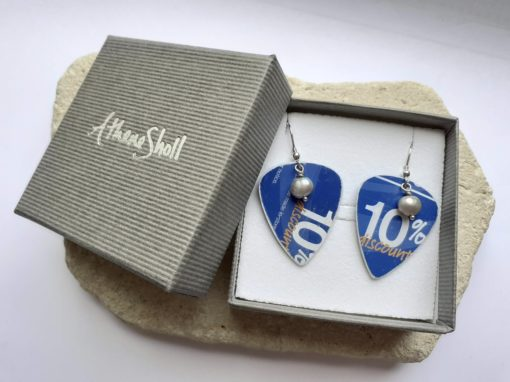 Blue recycled plectrum dangly earrings with freshwater pearls with gift box