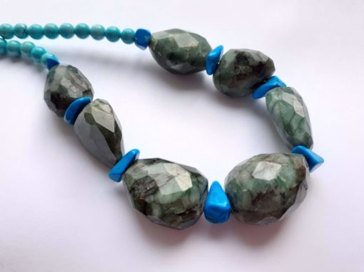 Raw Emerald and Turquoise with Howlite chips Necklace