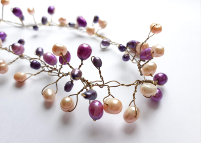 Freshwater Pearl and Brass Wire Necklace