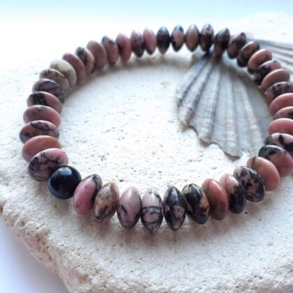 Rhodonite Semi Precious Elastic Bracelet