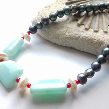 Blue and Greenery Colour Theory Necklace