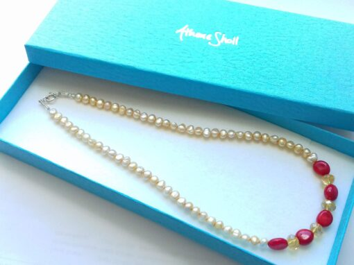 Bamboo Coral, Freshwater Pearl and Czech Crystal Necklace