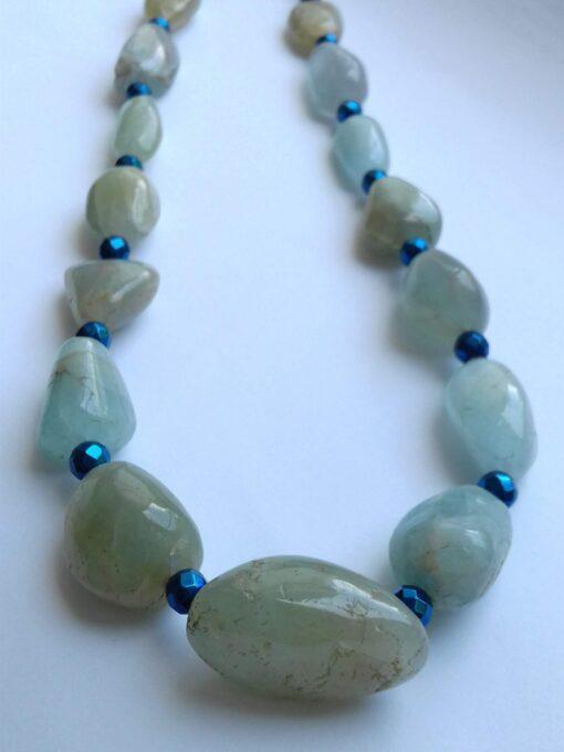 Aquamarine and Electroplated Hematite Necklace