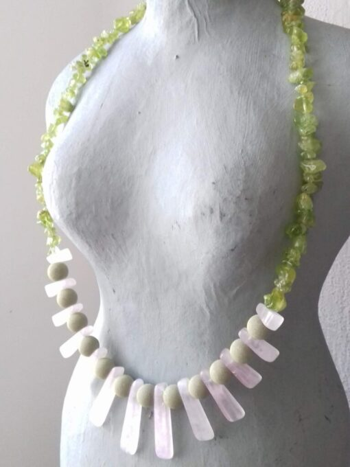 lavastone and rose quartz necklace