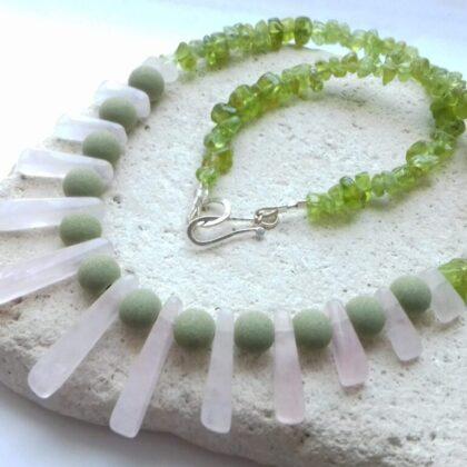 lavastone and rose quartz necklace
