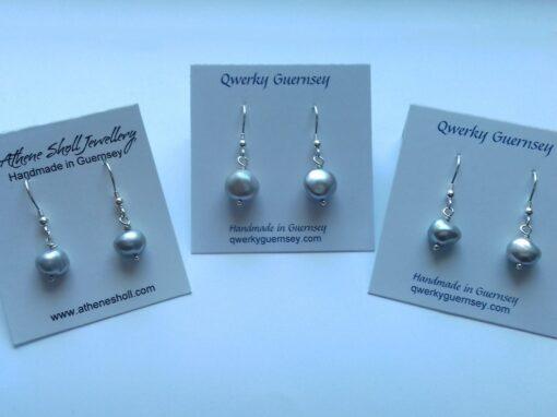 grey pearl dangle earrings