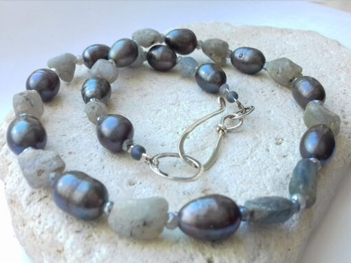 raw Sapphire, labradorite and grey freshwater pearl necklace
