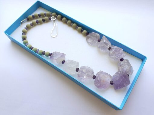 amethyst and lavastone necklace