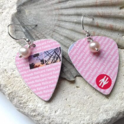 Railcard plectrum earrings