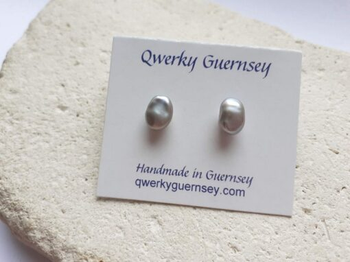 Small Grey Keshi Pearl Stud Earrings