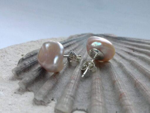 Small Pink Keshi Pearl Stud Earrings