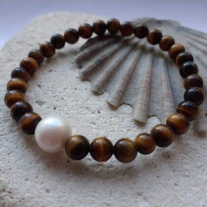 Tigers Eye and Pearl Elastic Bracelet