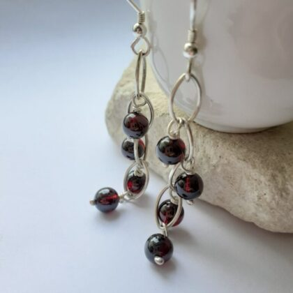garnet waterfall earrings