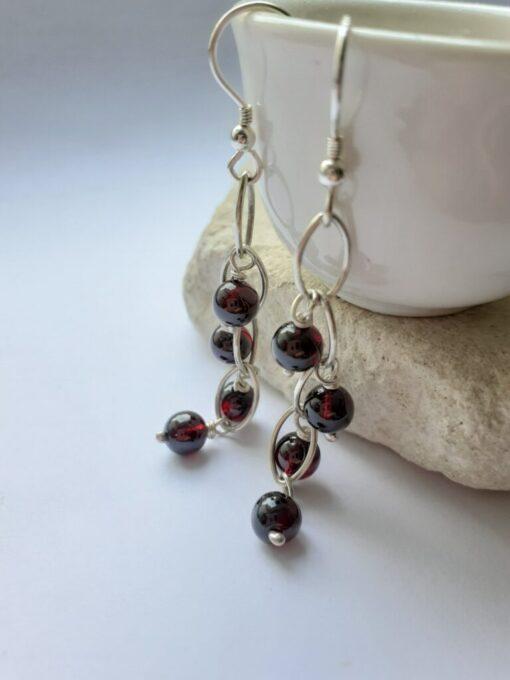 garnet waterfall earrings
