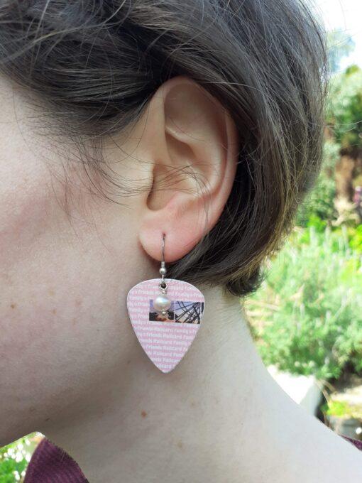 Railcard plectrum earrings
