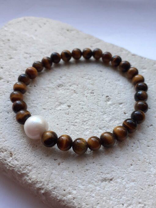 Tigers Eye and Pearl Elastic Bracelet