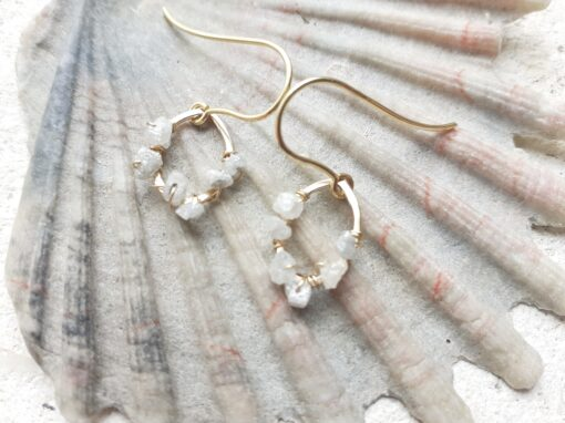 9ct Gold and Raw Diamond Hook Earrings