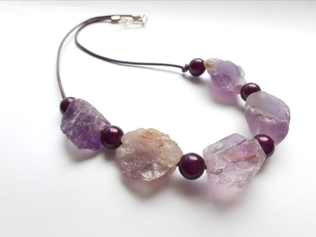 Purple Amethyst and Miracle Bead Colour Theory Necklace