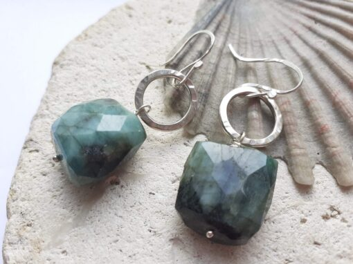 Silver Disco Danlge Earrings with Emerald